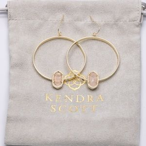 Kendra Scott Elora Hoop Earrings Gold Rose Quartz